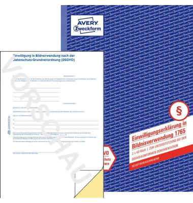 AVERY Zweckform Formularbuch 1765 Einwilligungserklärung in die Bildnisverwendung