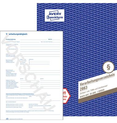 AVERY Zweckform Formularbuch 2863 Verarbeitungsverzeichnis