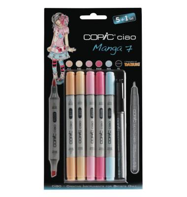 Layoutmarker Ciao Manga 7 22075564 5+1er Etui farbig sortiert 1mm & 6mm Rundspitze/Keilspitze