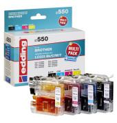 edding EDD-550 schwarz, cyan, magenta, gelb Tintenpatronen ersetzen brother LC-223BK/C/M/Y