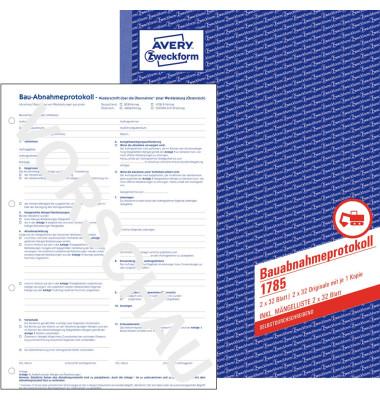 AVERY Zweckform Formularbuch 1785 Bauabnahmeprotokoll