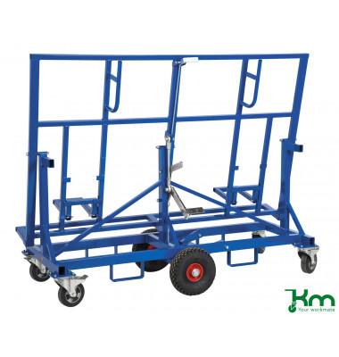 Baustellenwagen blau bis 500 kg 2 Bockrollen 4 Lenkrollen 2 davon mit Bremse 1900x700x1490mm KM08200