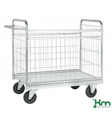Paketwagen verzinkt bis 300 kg 2 Bockrollen 2 Lenkrollen 1390x650x1025mm KM10000-M