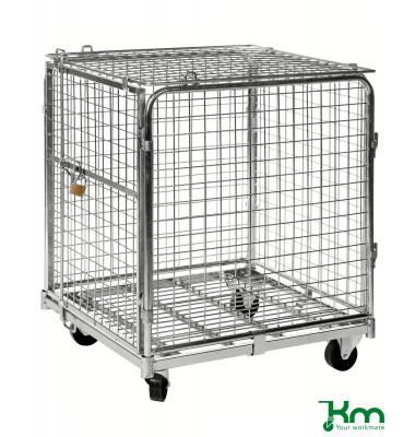 Rollcontainer verzinkt bis 400 kg 2 Bockrollen 2 Lenkrollen 720x830x1000mm KM1210