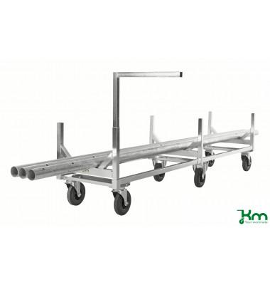 Langgutwagen verzinkt bis 800 kg 2 Bockrollen 4 Lenkrollen 2800x608x700mm KM124