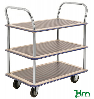 Tischwagen elektrolytisch verzinkt bis 220 kg 2 Lenk- und 2 Bockrollen  810x490x870mm KM130-HL