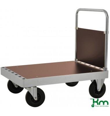 Plattformwagen Serie 100 KM132-2, 700x1000mm (BxL gesamt), bis 800kg belastbar, 2 Bockrollen, 2 Lenkrollen, silber