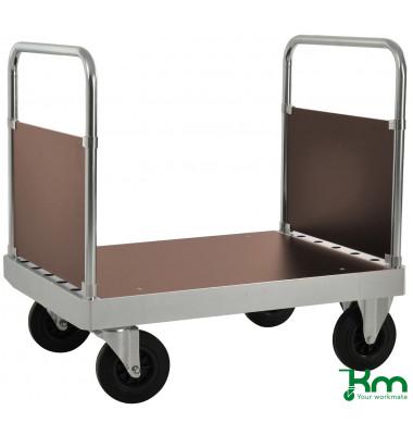 Plattformwagen Serie 100 KM133-2B, 700x1000mm (BxL gesamt), bis 800kg belastbar, 2 Bockrollen, 2 Lenkrollen, mit Bremse, silber