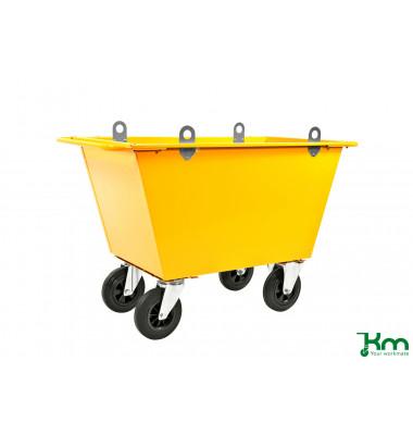 Müllsackständer gelb bis 400 kg 2 Bockrollen 2 Lenkrollen 1220x580x790mm KM143025-L