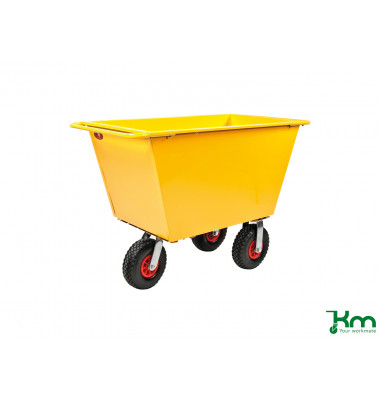 Müllsackständer gelb bis 400 kg 2 Bockrollen 2 Lenkrollen 1220x580x820mm KM143075