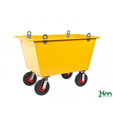 Müllsackständer gelb bis 400 kg 2 Bockrollen 2 Lenkrollen 1150x730x920mm KM143175-L