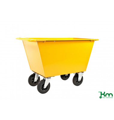 Müllsackständer gelb bis 400 kg 2 Bockrollen 2 Lenkrollen 1390x740x860mm KM143225