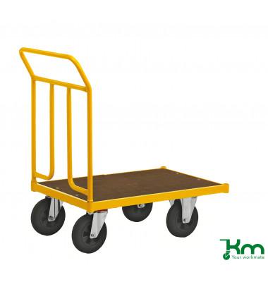 Plattformwagen Serie 144 KM144400, 500x836mm (BxL gesamt), bis 400 kg belastbar, 2 Bockrollen, 2 Lenkrollen, gelb