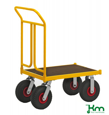 Plattformwagen Serie 144 KM144450, 500x836mm (BxL gesamt), bis 400 kg belastbar, 2 Bockrollen, 2 Lenkrollen, gelb