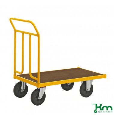 Plattformwagen Serie 144 KM144500B, 600x1086mm (BxL gesamt), bis 400 kg belastbar, 2 Bockrollen, 2 Lenkrollen, mit Bremse, gelb