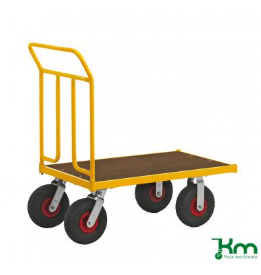Plattformwagen Serie 144 KM144550, 600x1086mm (BxL gesamt), bis 400 kg belastbar, 2 Bockrollen, 2 Lenkrollen, gelb