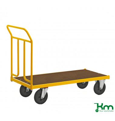 Plattformwagen Serie 144 KM144600, 650x1336mm (BxL gesamt), bis 400 kg belastbar, 2 Bockrollen, 2 Lenkrollen, gelb
