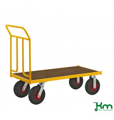 Plattformwagen Serie 144 KM144650, 650x1336mm (BxL gesamt), bis 400 kg belastbar, 2 Bockrollen, 2 Lenkrollen, gelb