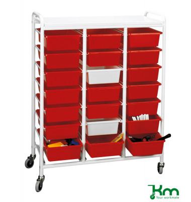 Roll- und Kistenwagen weiß bis 150 kg 4 Lenkrollen 2 davon mit Bremse 950x420x1205mm KM154