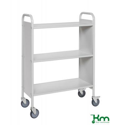 Bürowagen hellgrau bis 150 kg 4 Lenkrollen 2 davon mit Bremse 780x345x1115mm KM158-LG