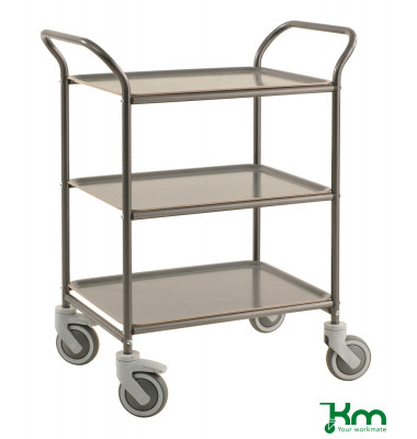 Tablettwagen anthrazit grau bis 150 kg 4 Lenkrollen 2 davon mit Bremse 770x495x960mm KM1620-AA