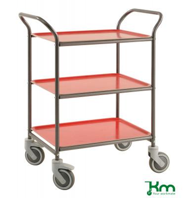 Tablettwagen anthrazit grau bis 150 kg 4 Lenkrollen 2 davon mit Bremse 770x495x960mm KM1620-AR