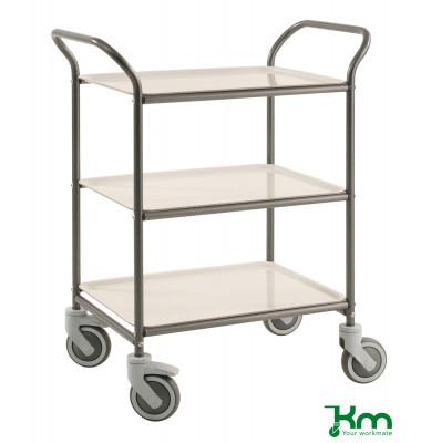 Tablettwagen anthrazit grau bis 150 kg 4 Lenkrollen 2 davon mit Bremse 770x495x960mm KM1620-AV