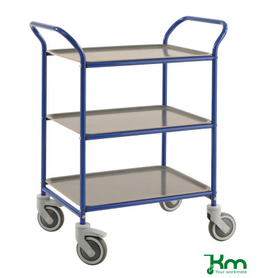 Tablettwagen blau bis 150 kg 4 Lenkrollen 2 davon mit Bremse 770x495x960mm KM1620-BA