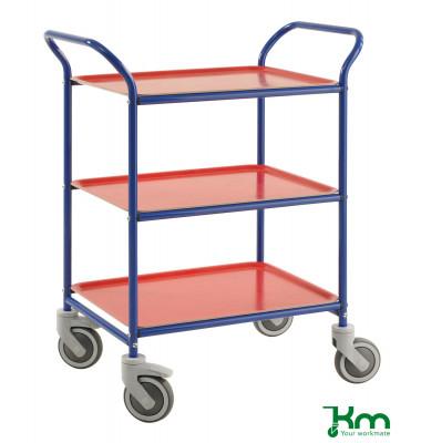 Tablettwagen blau bis 150 kg 4 Lenkrollen 2 davon mit Bremse 770x495x960mm KM1620-BR