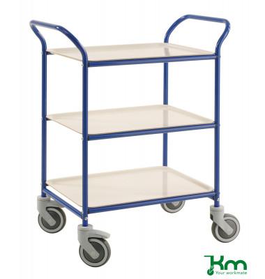 Tablettwagen blau bis 150 kg 4 Lenkrollen 2 davon mit Bremse 770x495x960mm KM1620-BV