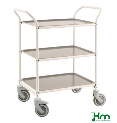 Tablettwagen weiß bis 150 kg 4 Lenkrollen 2 davon mit Bremse 770x495x960mm KM1620-VA