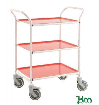 Tablettwagen weiß bis 150 kg 4 Lenkrollen 2 davon mit Bremse 770x495x960mm KM1620-VR