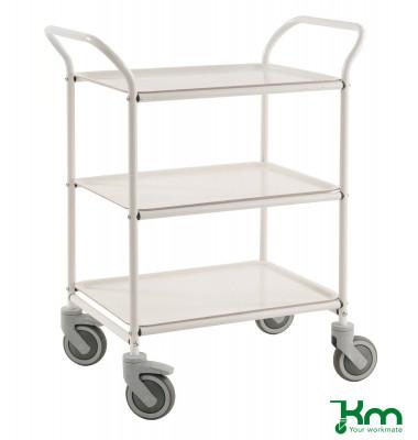 Tablettwagen weiß bis 150 kg 4 Lenkrollen 2 davon mit Bremse 770x495x960mm KM1620-VV