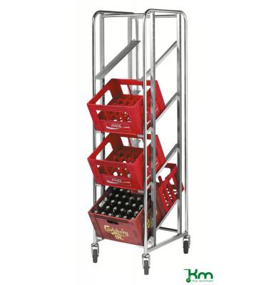 Roll- und Kistenwagen verzinkt bis 150 kg 4 Lenkrollen 2 davon mit Bremse 435x585x1880mm KM165DKB