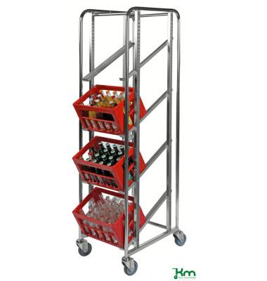 Roll- und Kistenwagen verzinkt bis 150 kg 4 Lenkrollen 2 davon mit Bremse 410x585x1880mm KM165SB