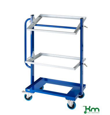 Roll- und Kistenwagen blau bis 150 kg 2 Bockrollen 2 Lenkrollen mit Bremse 800x415x1100mm KM167-3E
