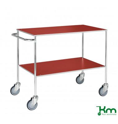 Tischwagen rot bis 150 kg 4 Lenkrollen 1000x580x850mm KM170-1