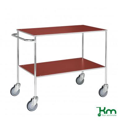 Tischwagen rot bis 150 kg 4 Lenkrollen 2 davon mit Bremse 1000x580x850mm KM170-1B