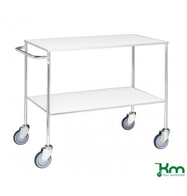 Tischwagen weiß bis 150 kg 4 Lenkrollen 2 davon mit Bremse 1000x580x850mm KM170-6B