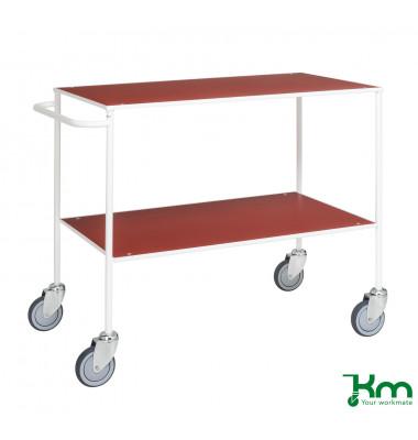 Tischwagen rot bis 150 kg 4 Lenkrollen 2 davon mit Bremse 1000x580x850mm KM171-1B