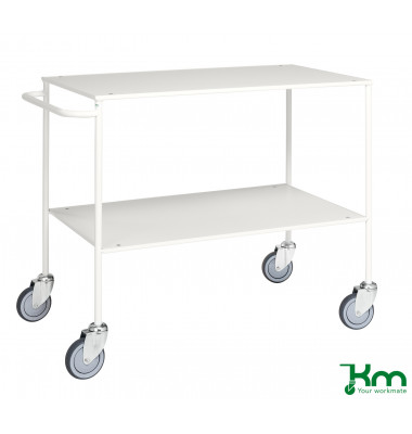 Tischwagen weiß bis 150 kg 4 Lenkrollen 2 davon mit Bremse 1000x580x850mm KM171-6B