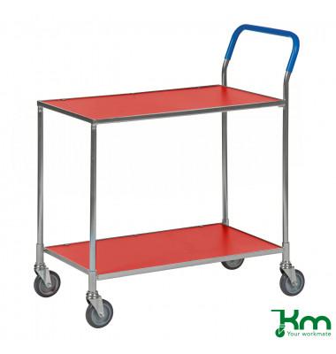 Tischwagen rot bis 150 kg 4 Lenkrollen 2 davon mit Bremse 850x435x950mm KM1720-1B
