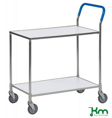Tischwagen weiß bis 150 kg 4 Lenkrollen 2 davon mit Bremse 850x435x950mm KM1720-6B