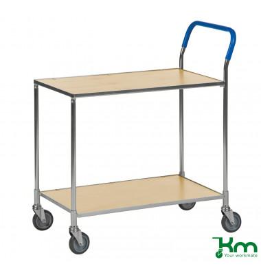 Tischwagen birkenholz bis 150 kg 4 Lenkrollen 850x435x950mm KM1720-BJ