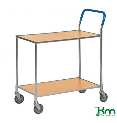 Tischwagen buchenholz bis 150 kg 4 Lenkrollen 850x435x950mm KM1720-BO
