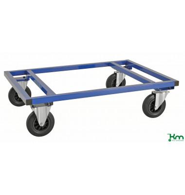 Palettenwagen blau bis 800 kg 2 Bockrollen 2 Lenkrollen 1200x800x305mm KM217-B