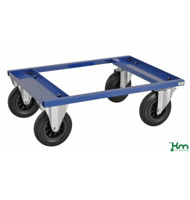Palettenwagen blau bis 800 kg 2 Bockrollen 2 Lenkrollen 800x600x270mm KM217-BH