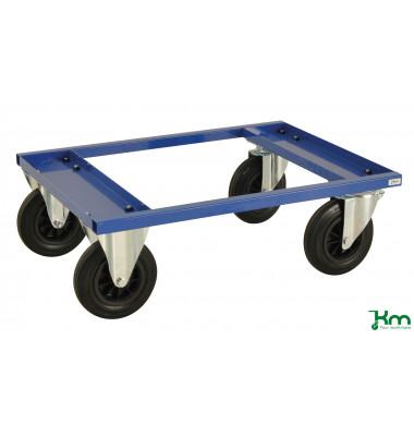 Palettenwagen blau bis 800 kg 2 Bockrollen 2 Lenkrollen mit Bremse 800x600x270mm KM217-BHB