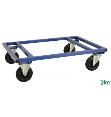 Palettenwagen blau bis 800 kg 2 Bockrollen 2 Lenkrollen mit Bremse 1200x1000x305mm KM217-FIN-BB