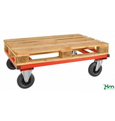 Palettenwagen rot bis 800 kg 2 Bockrollen 2 Lenkrollen mit Bremse 1200x1000x305mm KM217-FIN-RB